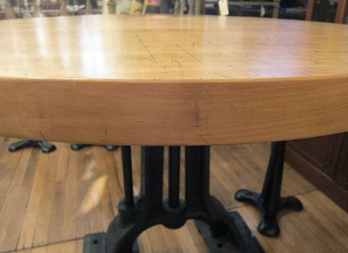 refurbished round butcher block table with heavy cast iron base olde good things. Black Bedroom Furniture Sets. Home Design Ideas