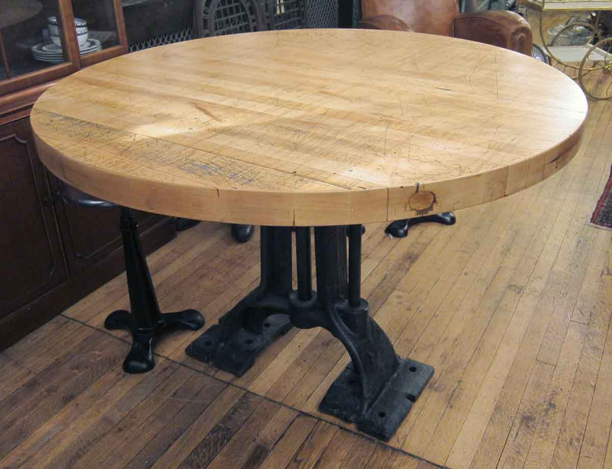 Round Kitchen Cart Butcher Block : Refurbished Round Butcher Block Table with Heavy Cast Iron Base Olde Good Things