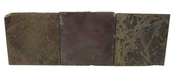 Set of Three Dark Matte Brown Square Tiles