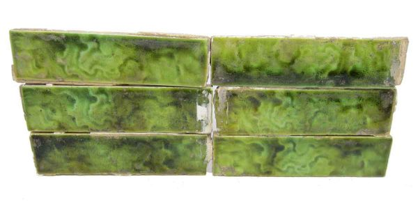 Set of Six Wavy Green Tiles