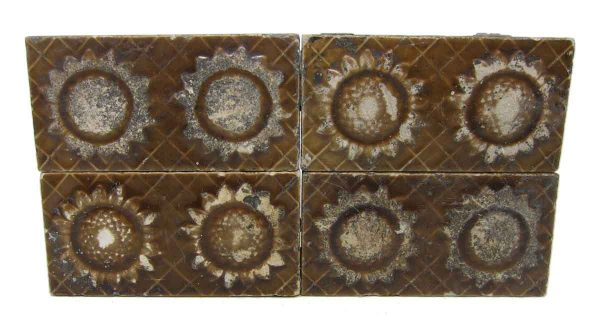 Set of Four Floral Brown Tiles
