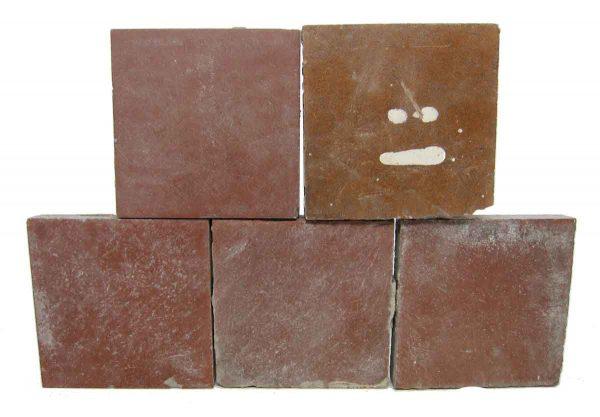 Set of Five Burgundy Square Tiles
