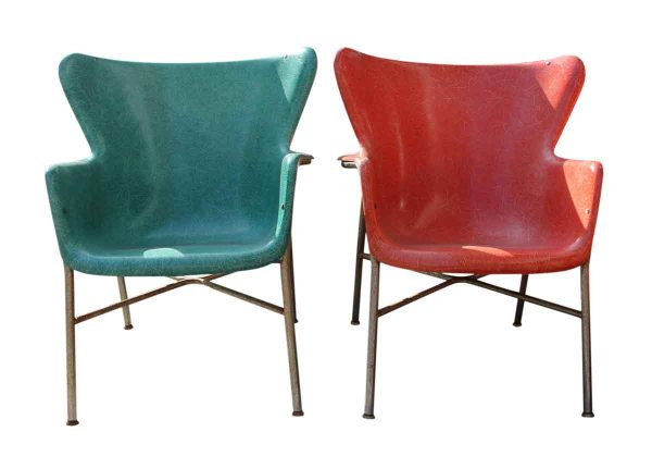 1950s Peabody Fiberglass Wing Back Chairs