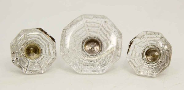 Set of Three Spider Web Glass Knobs