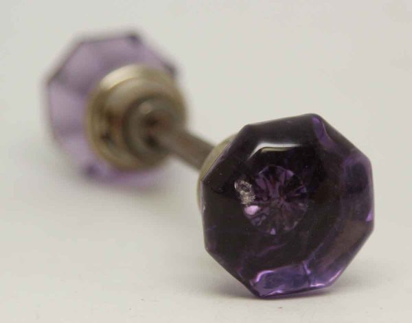 Small Vintage Purple Glass Knob Set
