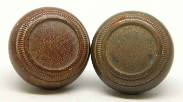 Pair of Concentric Circle Bronze Knobs