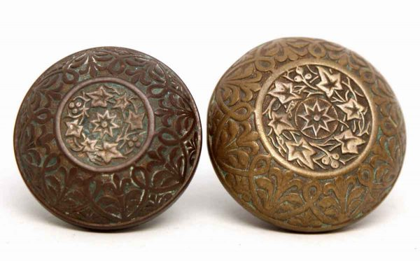 Pair of Hopkins & Dickinson Bronze Ornate Knobs