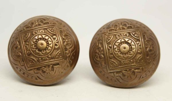 Pair of Single Brass Ornate Knobs