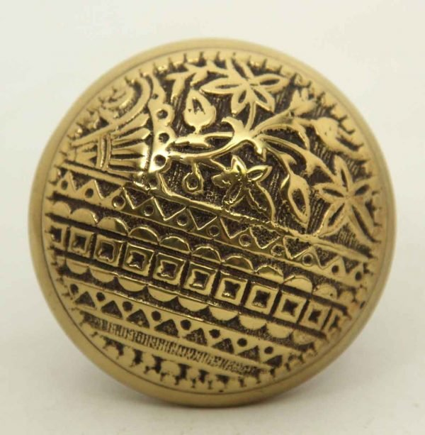 Vernacular Brass Polished Ornate Single Knob