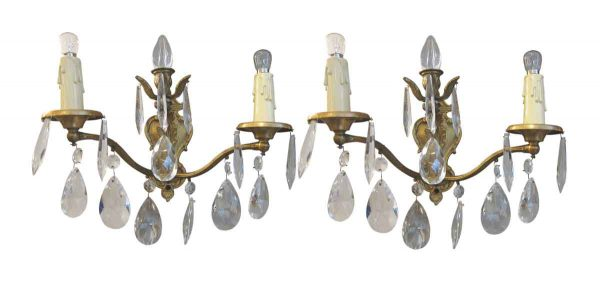 Early 20th Century Gilded Crystal Sconces