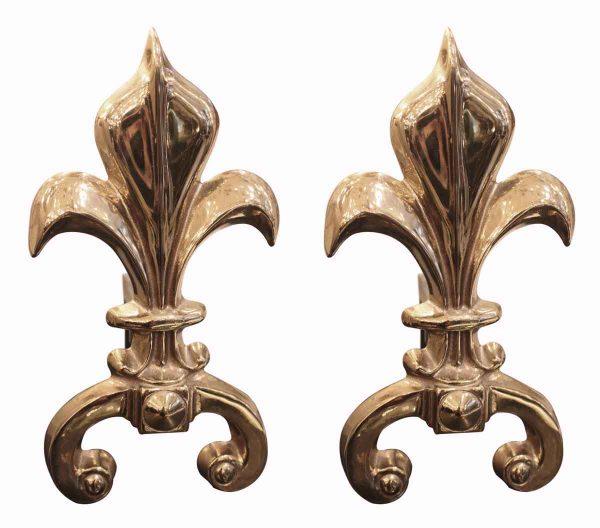Fleur de Lis Brass Andirons