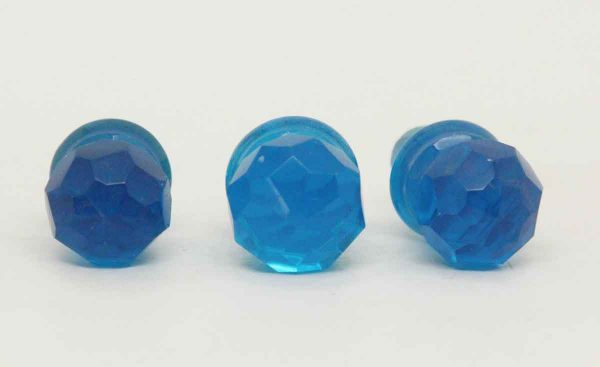 Set of Three Blue Glass Stoppers