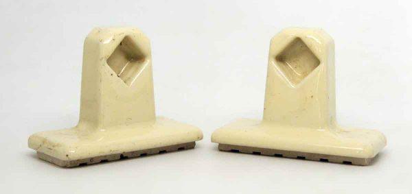 Pair of Light Tan Beige Porcelain Ceramic Towel Brackets