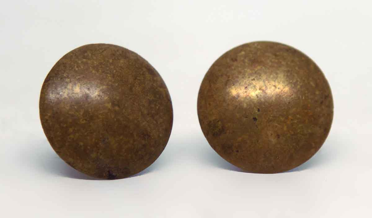 Pair of small thin brass knobs olde good things for Small cabinet pulls