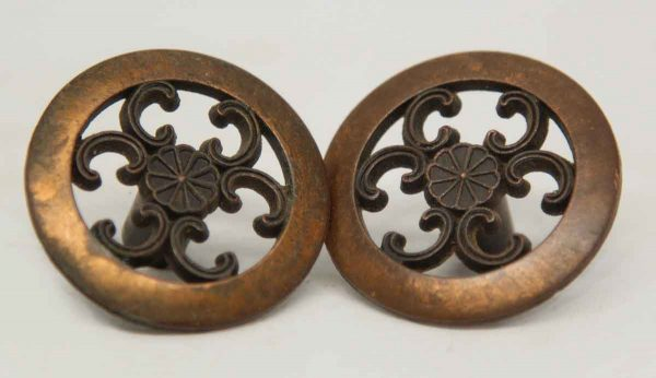 Pair of Ornate Decorative Floral Cabinet Knobs
