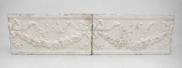 Set of 14 White Floral Tile