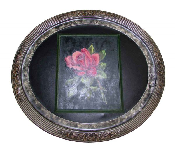 Oval Framed Rose Painting