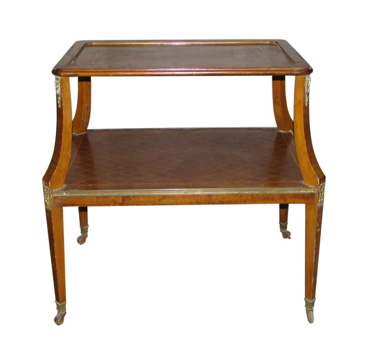 Antique diamond design end table olde good things - Antique side tables for living room ...