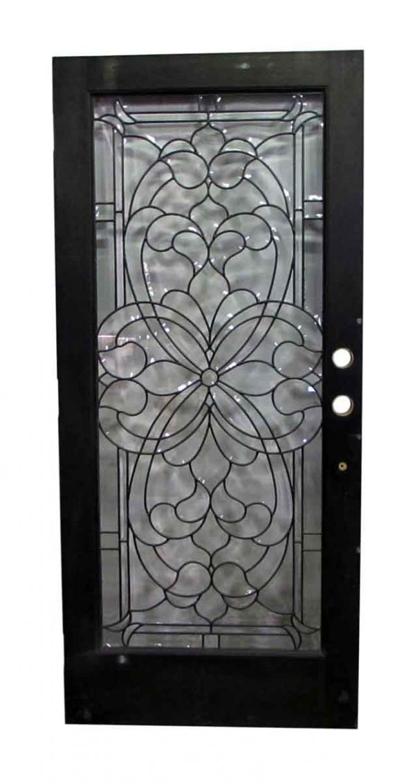 Salvaged Floral Beveled Glass Front Door