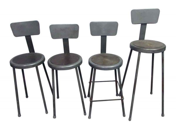 Set of Gray Workshop Metal Stools