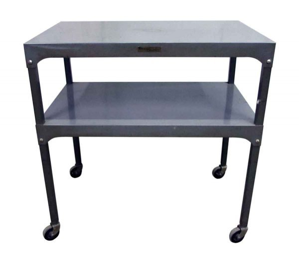 Metal Two Tier Table on Wheels