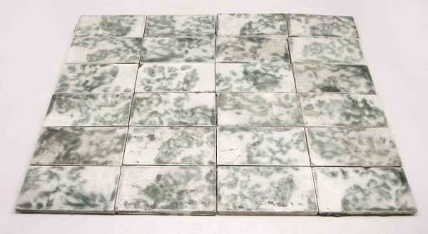 Green & White Mixed Hearth Tile Set