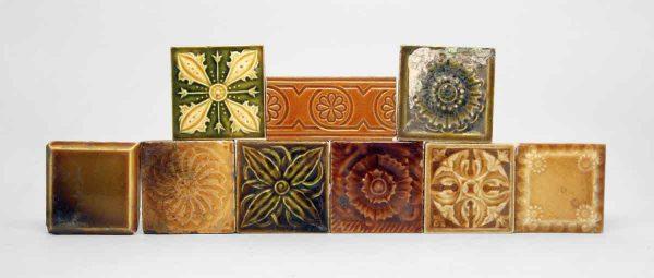 Set of Nine Warm Tone Tiles