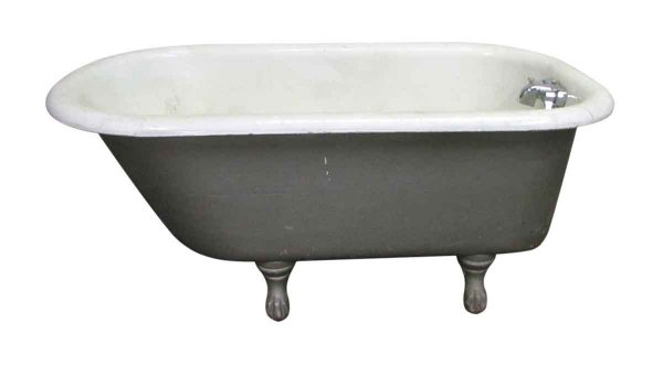 Fresh Gray Painted Claw Foot Tub Four Foot Six Inches