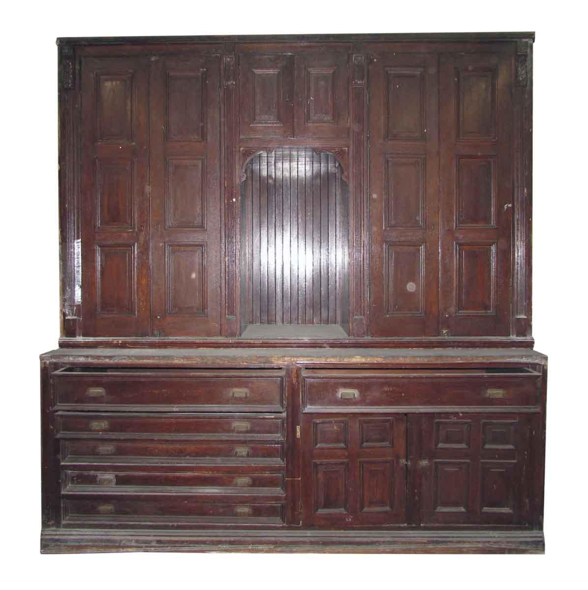 Antique Chestnut Vestment Cabinet Great For Map Olde