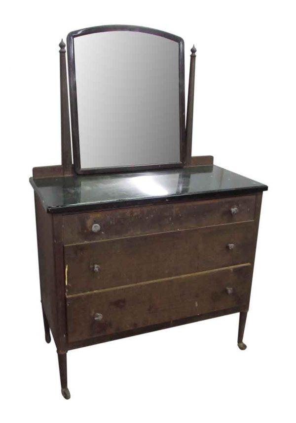 Vintage Metal Dresser with Mirror