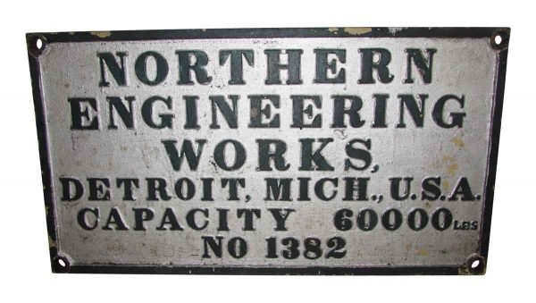 Two Industrial Northern Crane Metal Signs