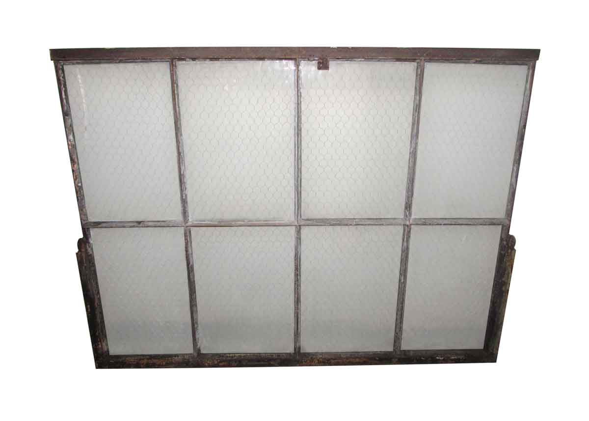 Chicken Wire Glass Double Glass Metal Window | Olde Good Things