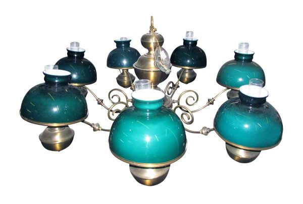 Brass Chandelier with Hunter Green Glass Shades