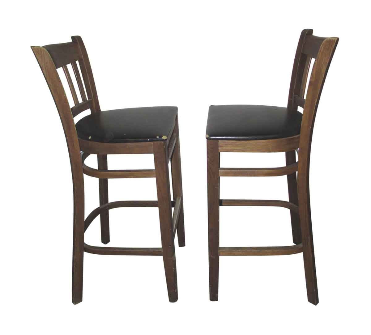 Wooden bar stools with slatted backs olde good things