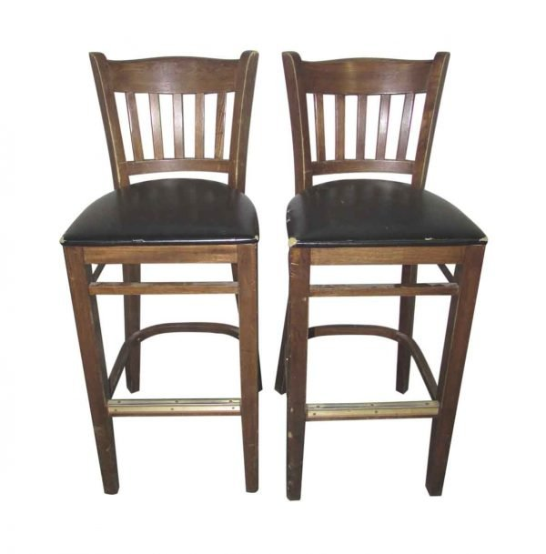Wooden Bar Stools with Slatted Backs
