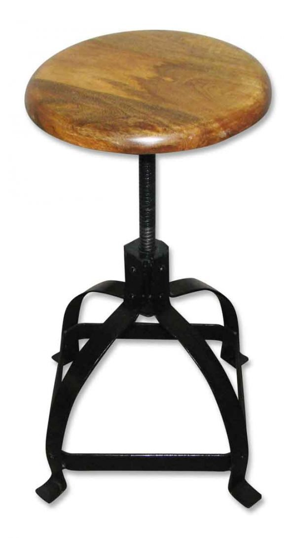 Wood Top Adjustable Stool with Flat Steel Base