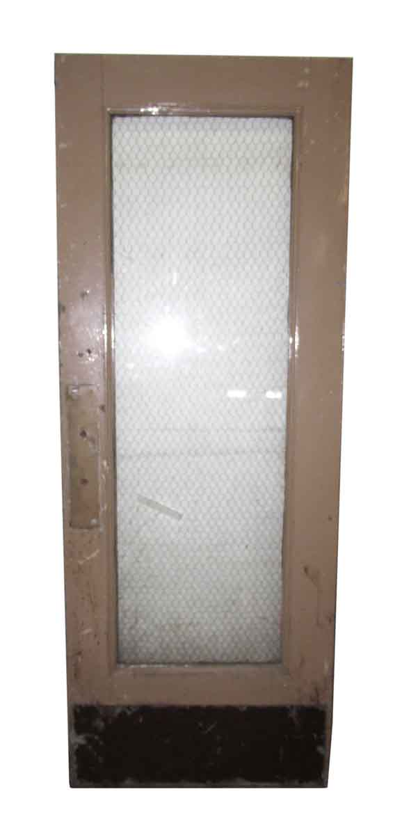 One Glass Panel Metal Door with Chicken Wire Glass