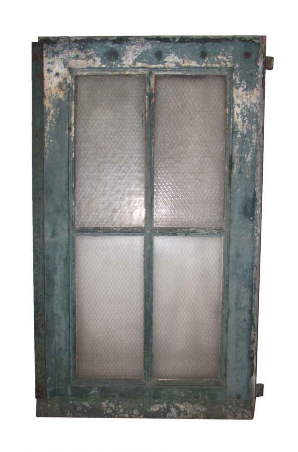 Large Factory Door with Chicken Wire Glass