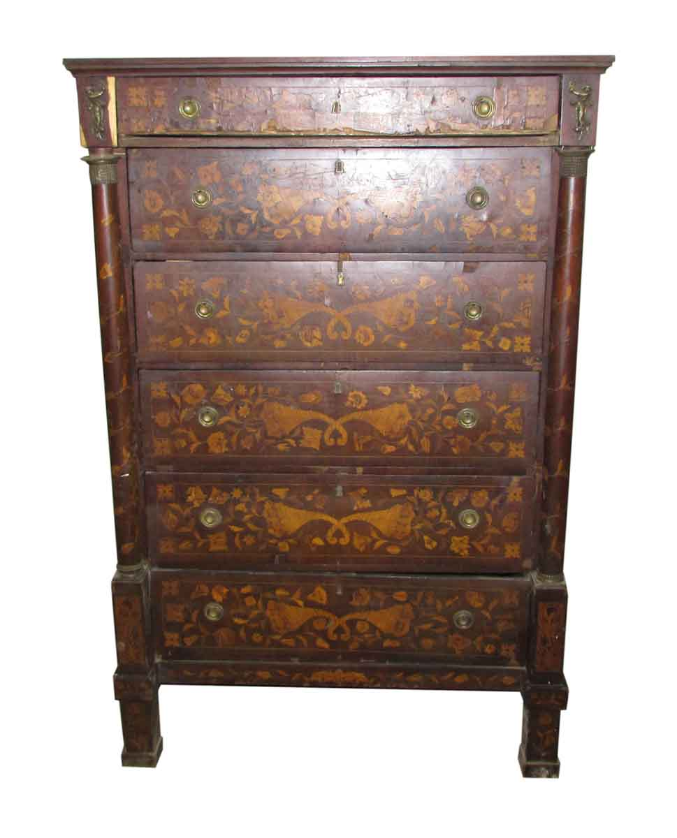 tall inlaid dresser with bronze reliefs olde good things