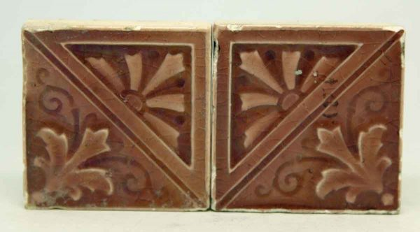 Pair of Small Mauve Decorative Tiles
