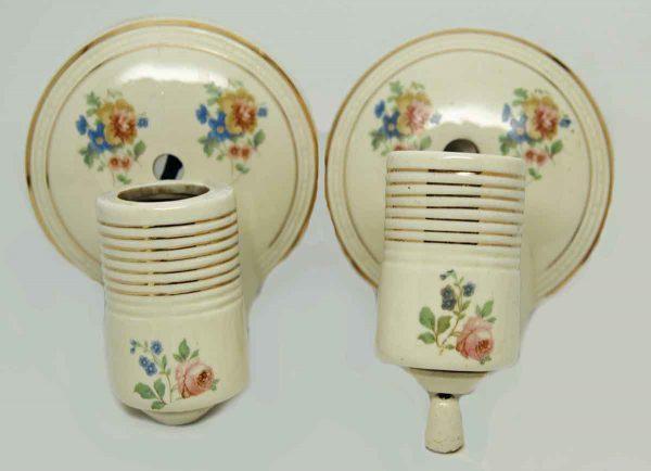 Set 1930s Floral Porcelain Sconces