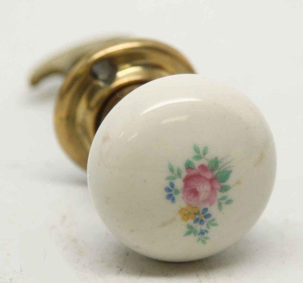 Floral Porcelain Closet Door Knob