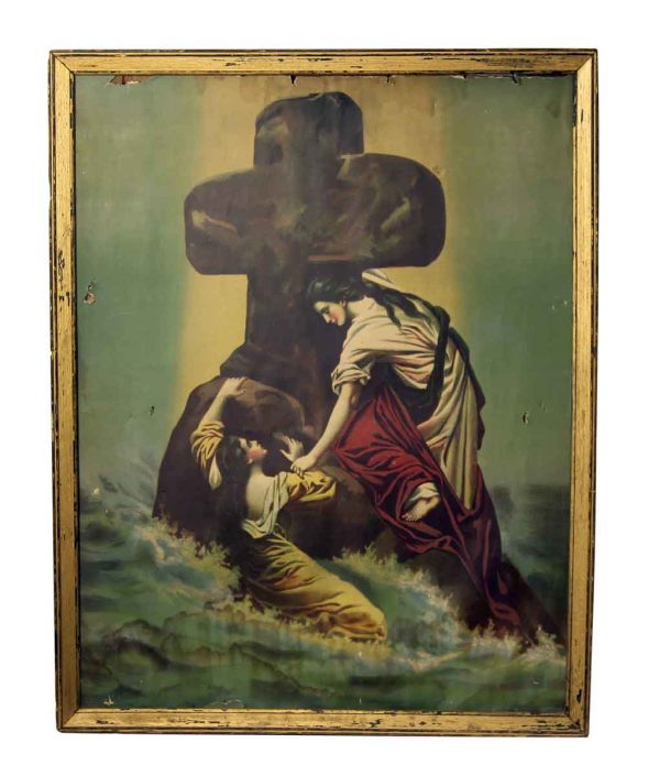Very Worn Framed Religious Print