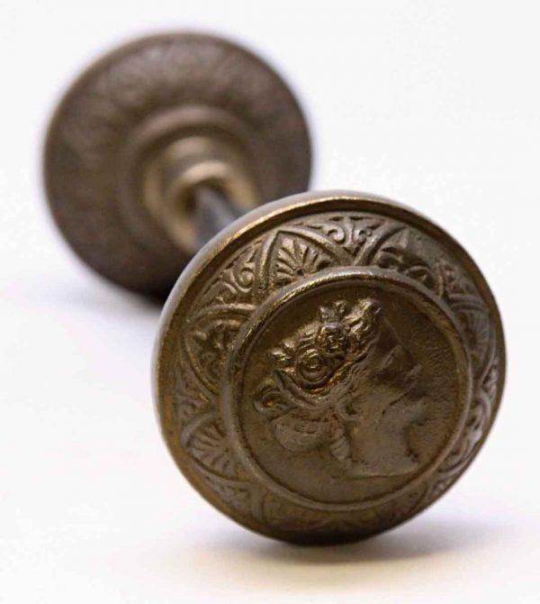 Gorgeous Heavy Cast Bronze Figural Door Knob Set