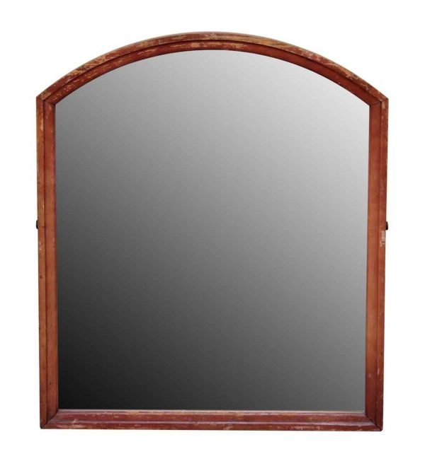 Slightly Arched Wood Framed Vanity Mirror