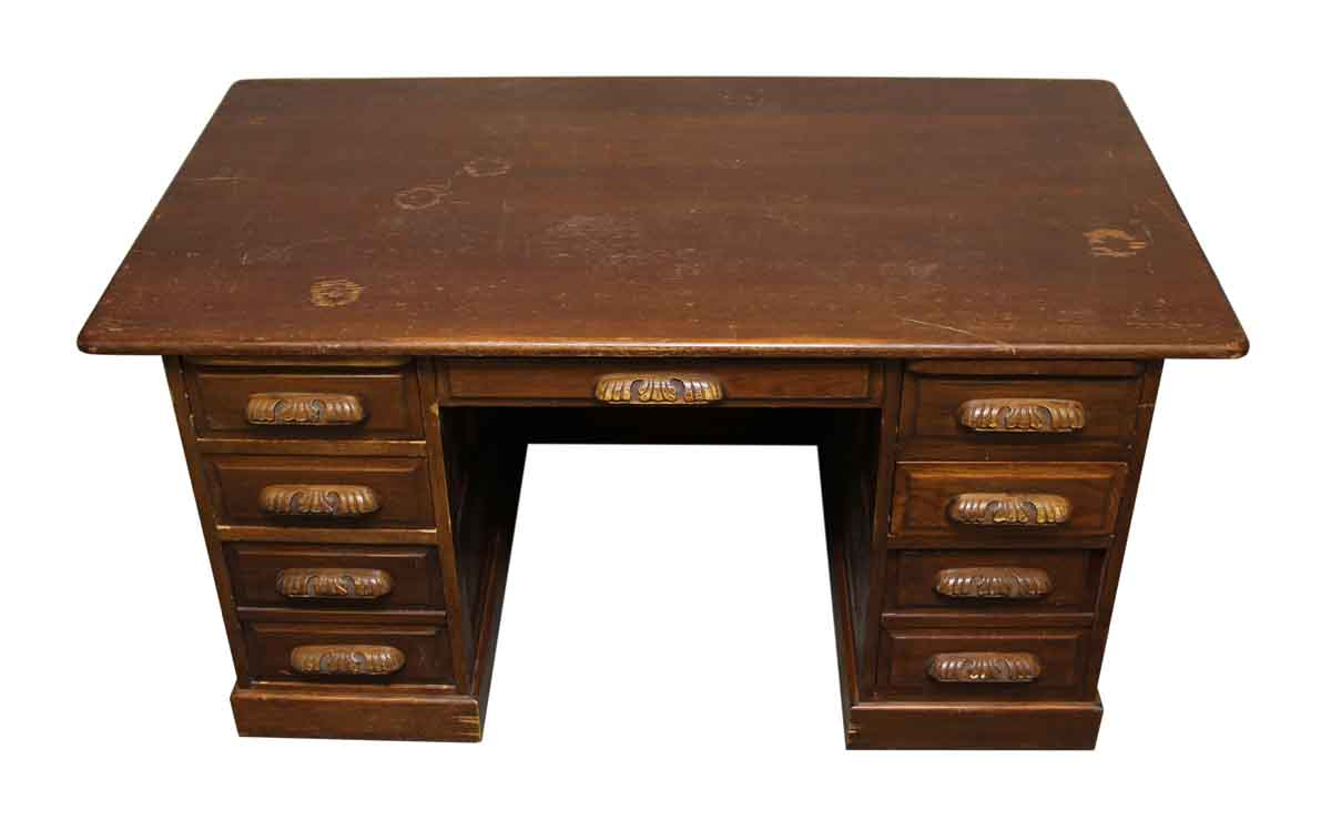 Wooden Desk With Carved Wood Pulls Olde Good Things
