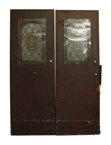 Pair of Leather Studded Doors with Stained Glass Panels