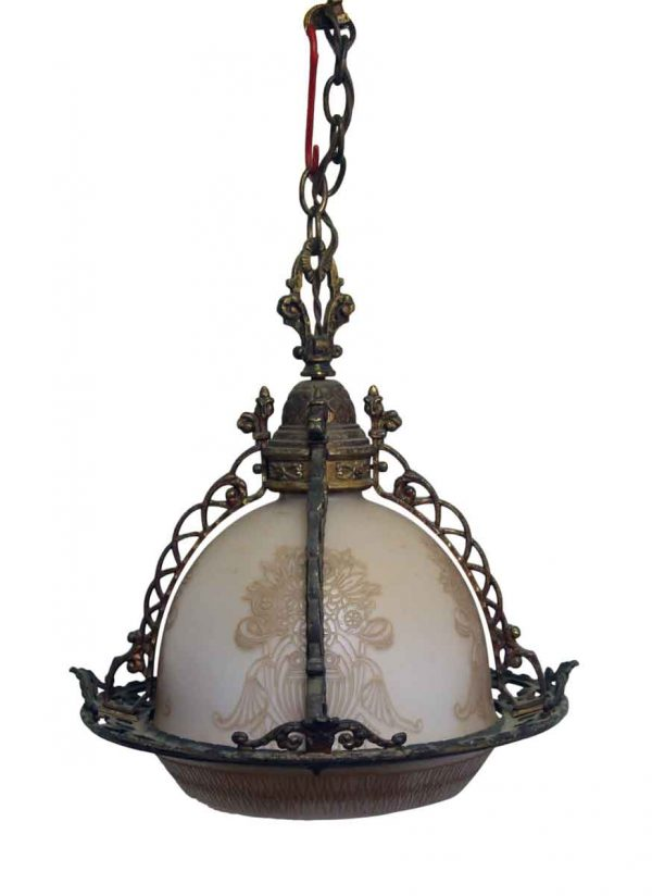 Rare Ornate Brass & Etched Glass Globe Pendant Light