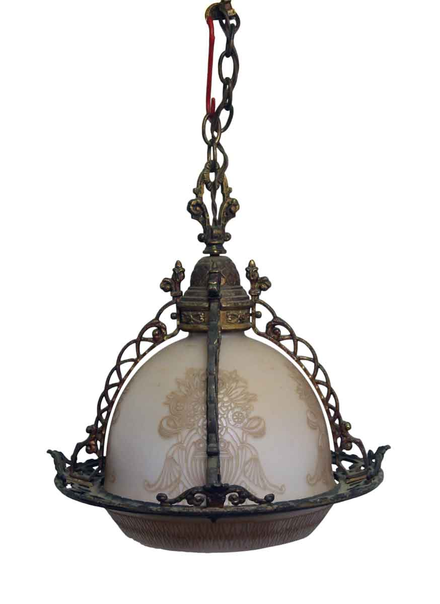 rare ornate brass etched glass globe pendant light olde good things. Black Bedroom Furniture Sets. Home Design Ideas
