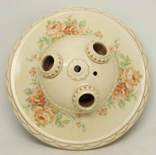 Floral Ceramic Flush Mount Fixture